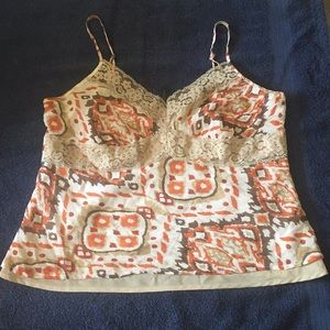Daisy Fuentes Beige/Brown/Orange Lined Camisole PL